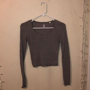 Grey Ribbed Long Sleeve Crop Top